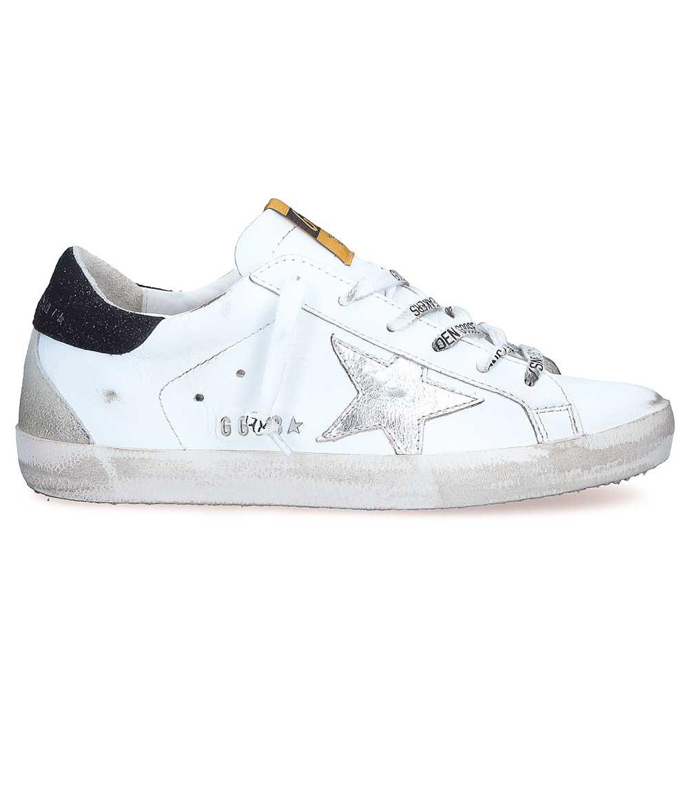 Sneakers Superstar étoile argent, contrefort noir et lacets lettres