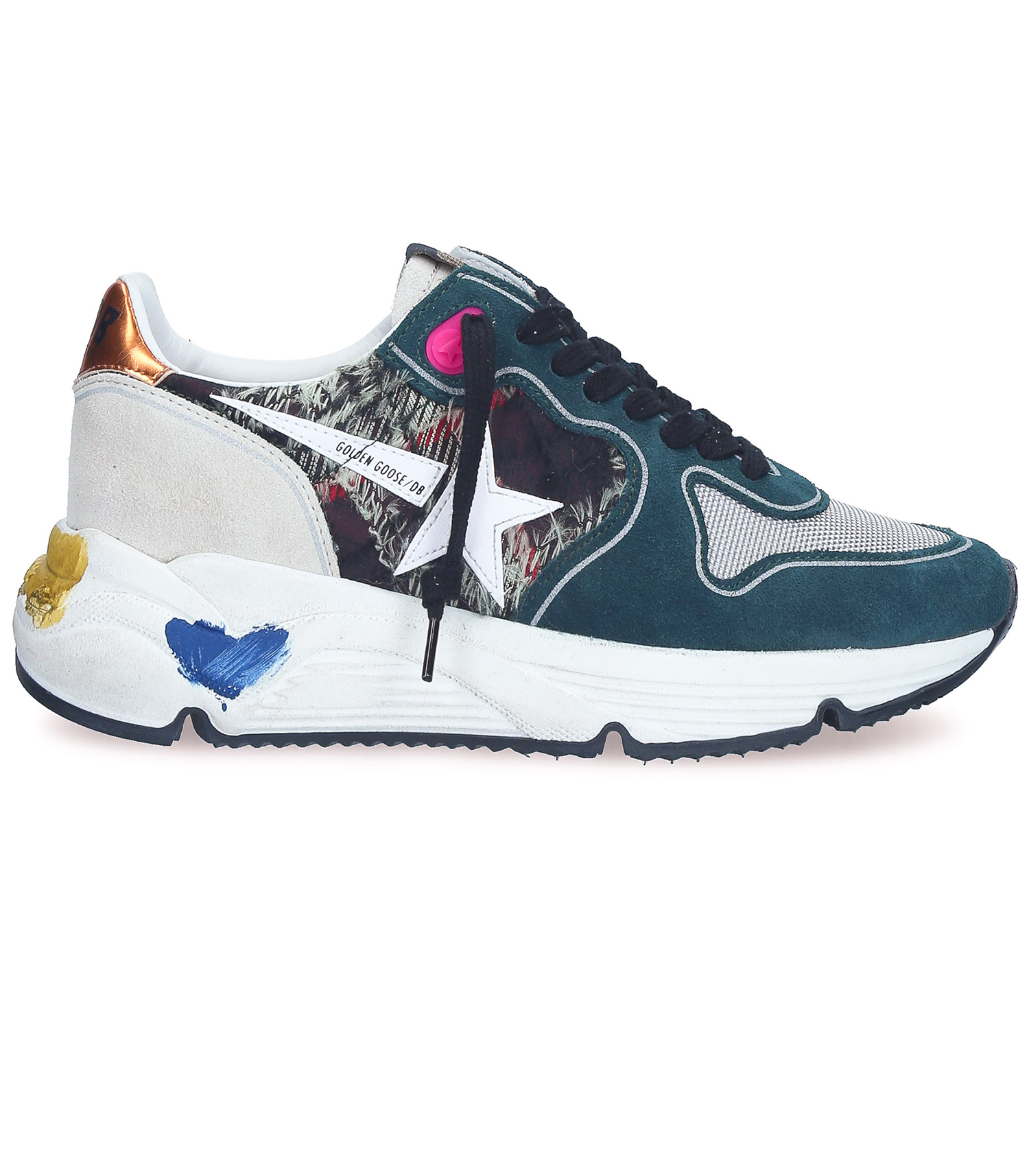 Sneakers Running Sole Green Check White Star