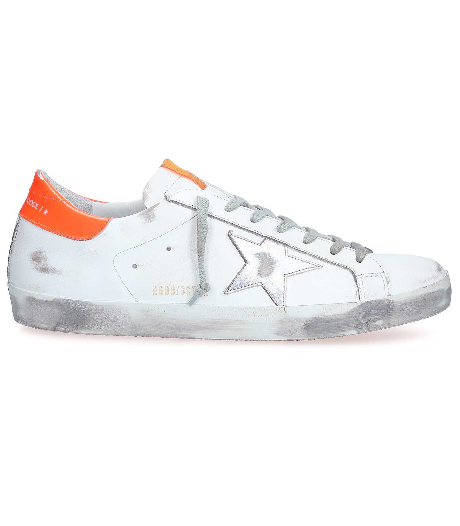 Sneakers Superstar Homme blanches et orange fluo Golden Goose
